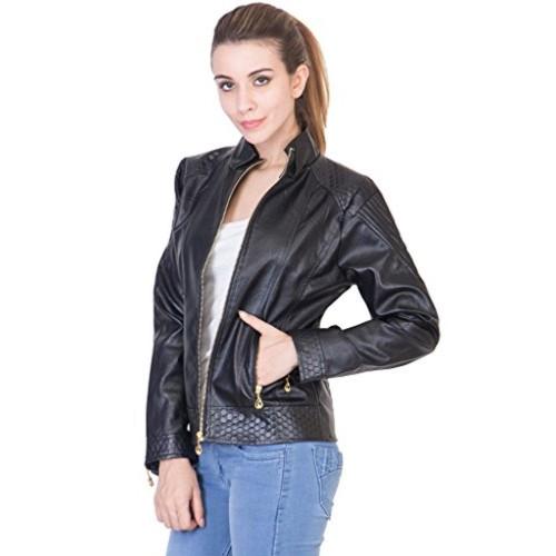 6d0cbfc60db6 Buy ANTS Ants Women's Black Leather Mandarin Collar Jacket online ...