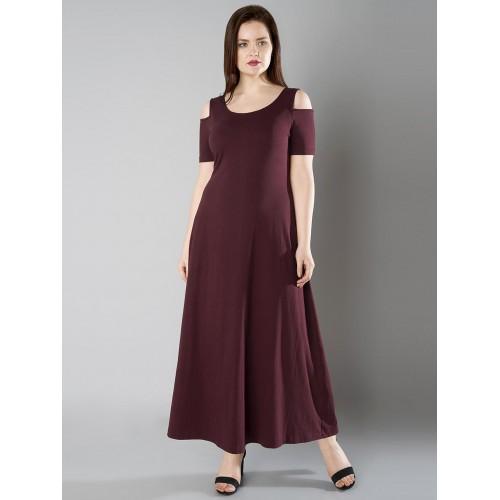991571a0dcf28b ... FabAlley Curve Women Maroon Solid Cold Shoulder Maxi Dress ...