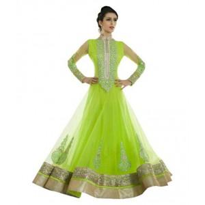 Chamunda Green Super Net Anarkali Semi-Stitched Suit