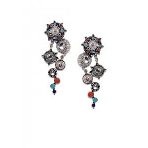 Studio Voylla Folklore Silver-Plated Drop Earrings