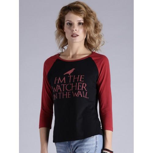 Game of Thrones by Kook N Keech Women Black Printed Round Neck T-shirt