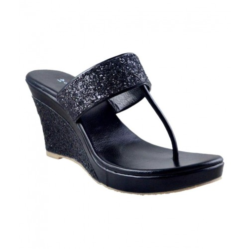 Buy Olive Fashion Black Wedges Heels
