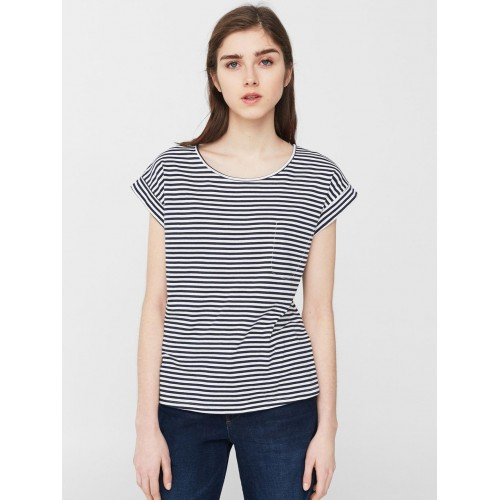 b89858944d Buy MANGO Women Navy   White Striped Round Neck T-Shirt online ...