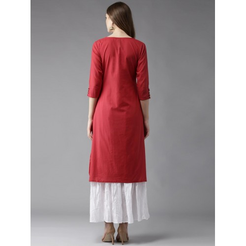 HERE&NOW Red Solid Straight Kurta