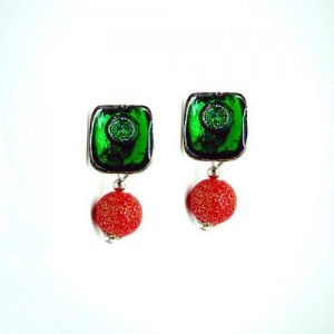 Green with Red Drop Earring
