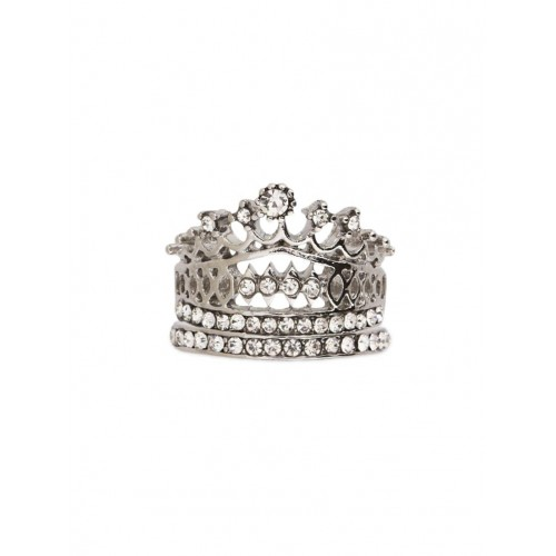 Oomph silver metal hand ring