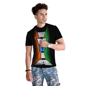 Black Cotton Hand Painted Indian Independence Day T-Shirt