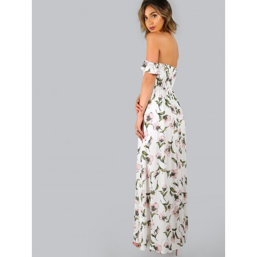 312d8b9115 Buy SheIn White Flower Print Off The Shoulder Maxi Dress online ...