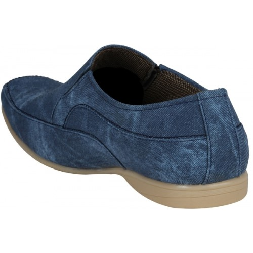 Kraasa Blue Synthetic Leather Slip On Loafers