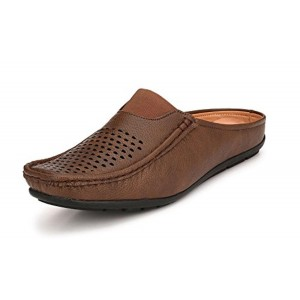 QHAN Brown Leather Solid Loafer
