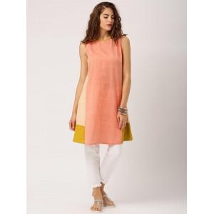 IndusDiva Loomnic Orange Solid Mangalgiri Cotton Kurta