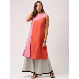 IndusDiva Loomnic Orange & Pink Mangalgiri Cotton A-Line Kurta