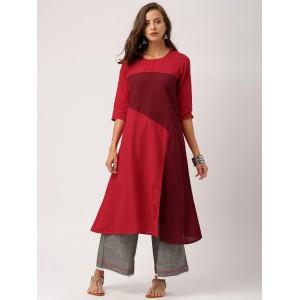 IndusDiva Loomnic Women Red & Maroon Mangalgiri Cotton A-Line Kurta