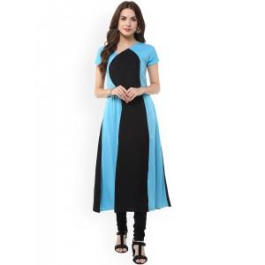 Janasya Women Black & Blue Colourblocked A-Line Kurta