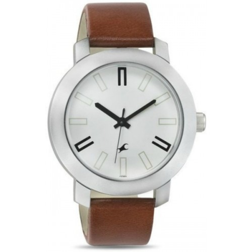 Fastrack Brown Leather Belt White Dial Sports Watch