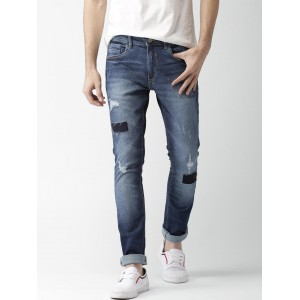 Mast & Harbour Blue Skinny Fit Mid-Rise Mildly Distressed Stretchable Jeans
