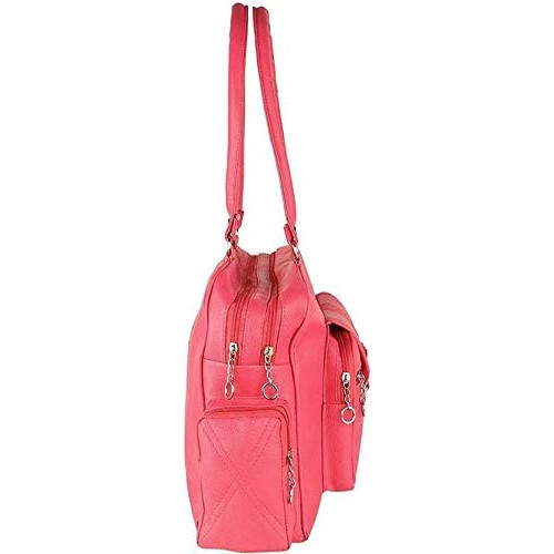 Bizarre Vogue Pink Polyurethane Solid Stylish Handbag
