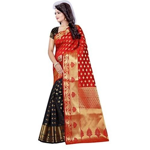 Vatsla Enterprise Red & Black Cotton silk Saree (VSLA01004RED_RED)