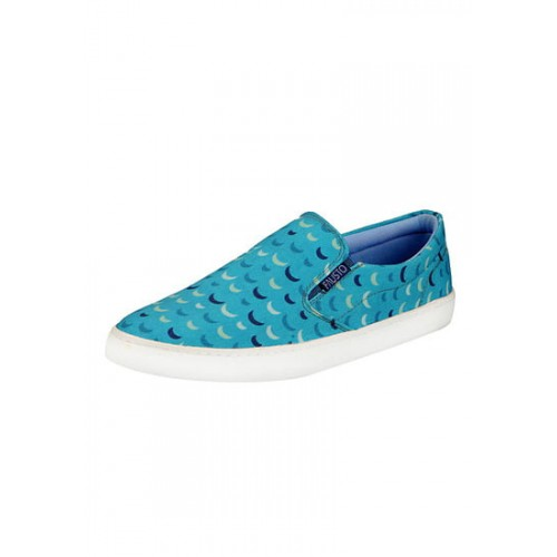 FAUSTO blue canvas slip on shoes
