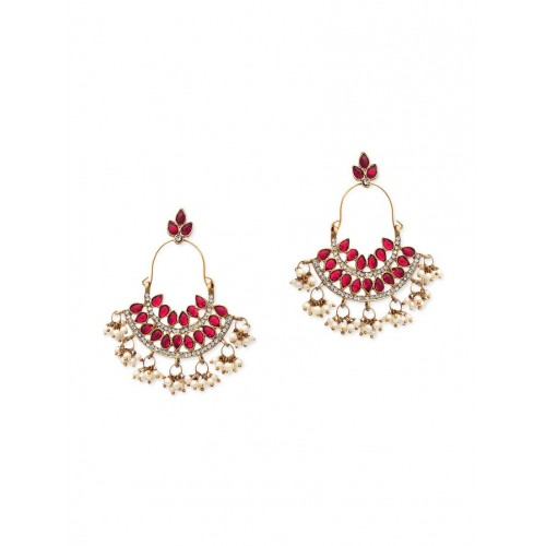 ZAVERI PEARLS gold zinc other earring