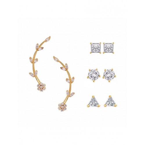 Parijaat Multi Colored Gold Plated Studs Earring