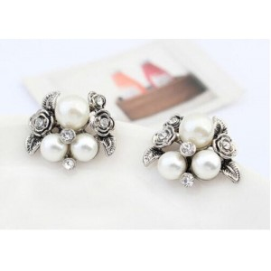 Gemma Fashion Silver Plated Crystal Pearl Rose Earring