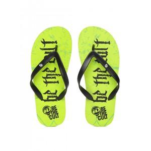 ID Men's Black & Lime Green Printed Flip-Flops