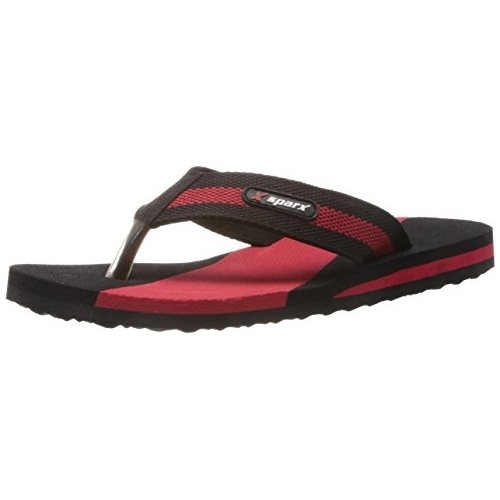Sparx Black & Red Synthetic Slip On Slippers