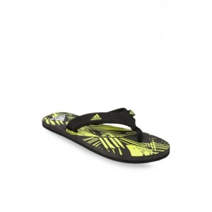 Adidas Yellow And Black Printed Flip Flop