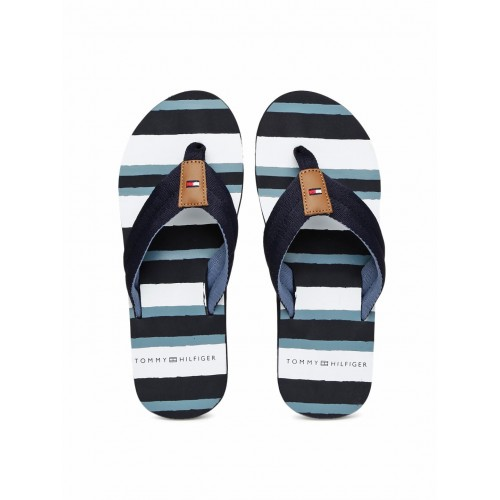 the best united kingdom purchase cheap Buy Tommy Hilfiger Men Navy & White Rubber Slip-On Striped ...