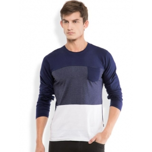 Highlander Blue Cotton Slim Fit Casual T-Shirts