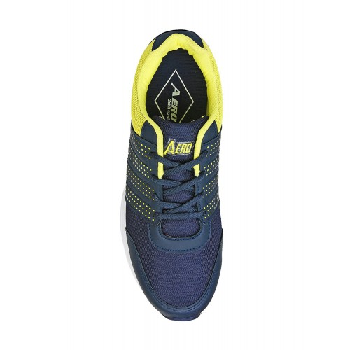 Aero Ignite Navy Blue & Yellow Mesh Running Shoes
