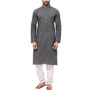 RG Designers Gray Cotton Solid Kurta and Pyjama Set