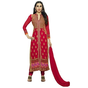 PARISHA Red Georgette Embroidried Straight Suit DVA10001
