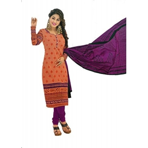 Angelfab Women's Orange Cotton Dress Material