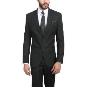 ManQ Black Solid Single Breasted Wedding Boy's Blazer