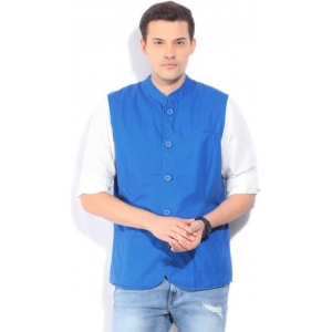 United Colors of Benetton Blue Solid Men's Nehru Jacket