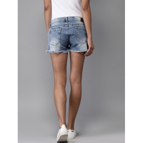 Moda Rapido Blue Distressed Regular Fit Denim Shorts