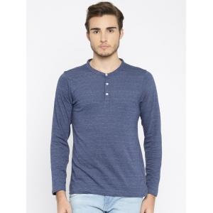 American Crew Men Blue Solid Henley Neck T-shirt