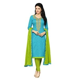 Applecreation Sky Blue Jacquard Dress Material