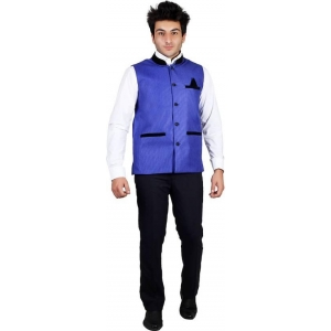 PSK Blue Solid Men's Nehru Jacket