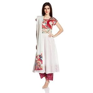 Biba Off White Anarkali Salwar Suit