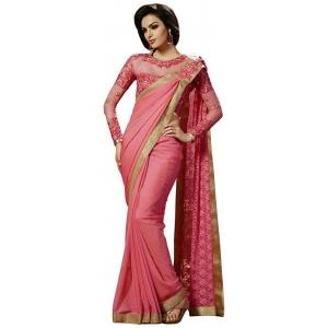 Morpich Fashion Pink New Designer Net Embroidery Saree