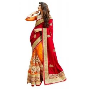 Fad Dadu Designer Red And Orange Silk And Net Saree (fv3063)