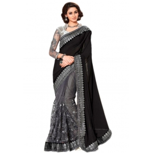 Try N Get's Black And Grey Color Embellished Silk Georgette And Nylon Net Designer Saree Tng-tzn-1518