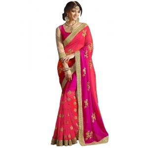 Isha Enterprise 60gm Padding Georgette Peach & Rani Pink Designer Saree Kfa-1538-c