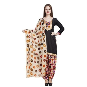 Divyaemporio Beige & Black Faux Cotton Dress Material