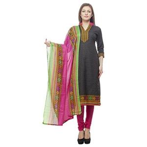 Divyaemporio Faux Cotton Black & Pink Salwar Suit Material