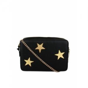 20Dresses Black & Gold-toned Faux Leather Sling Bag