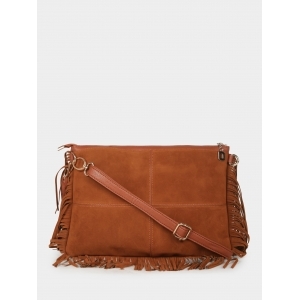 20Dresses Brown Artificial Leather Fringed Sling Bag